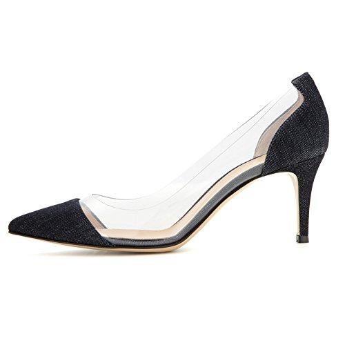 EDEFS Womens Pointed Toe Mid Heel Court Shoes Transparent Pumps Slip-on PVC Dress Shoes Denim