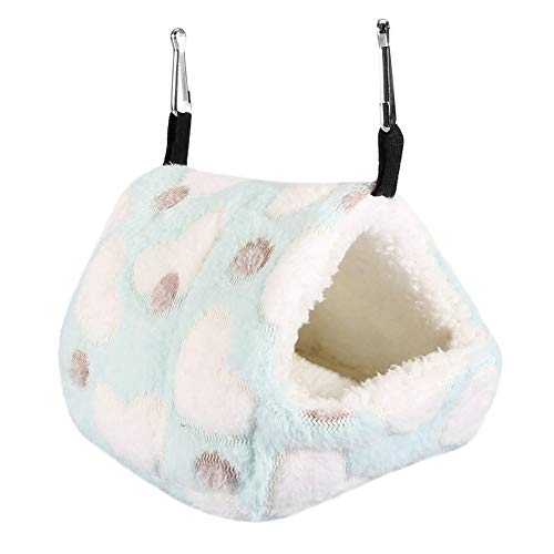 Pet Hamster Hammock, Winter Tent Type Plush Hanging Bed Polka Dot Heart Pattern Colorful Sleeping House Nest Accessories for Gerbils Chinchillas Squirrel Hedgehog Guinea Pigs Small Animal(1412-Blue)