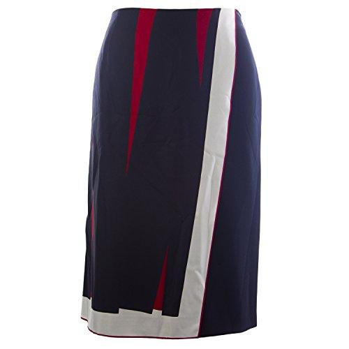 Marina Rinaldi Women's Candela Silk Printed Skirt 14W/23 Navy (Max Silk Mara)