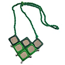 Choker Style Pendant Mirror & Crochet Necklace with Brass Beads Beautifully Crafted Tribal Fashion Jewellery For Women's & Girl's - Green
