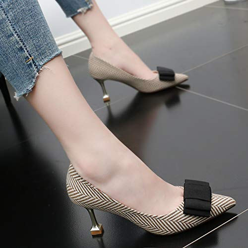 Temperament Heeled High Sharp color Apricot Coloring SFSYDDY Shoes Commuter Thin Fashion Shoes And Single Summer Wild 7Cm Bow Women'S pSxnwnqW