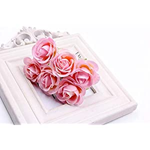 6Pcs Artificial Rose flower Stamen Scrapbooking Bouquet flowers for Home Garden wedding Car corsage decoration Supplies Color Pink 117