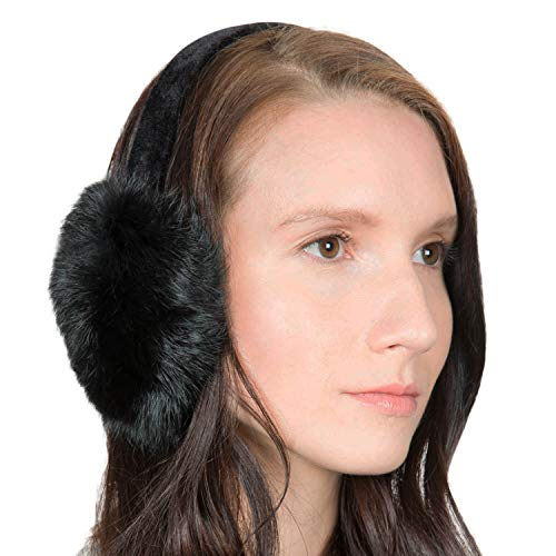 OBURLA Fur Earmuffs   Luxurious Real Fur Over Ear Warmers with Headband (Rabbit Fur, Black)