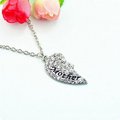 Sandistore 1Set/2pc Mother Daughter Diamond Break Heart Pendant Necklace Gift (White)