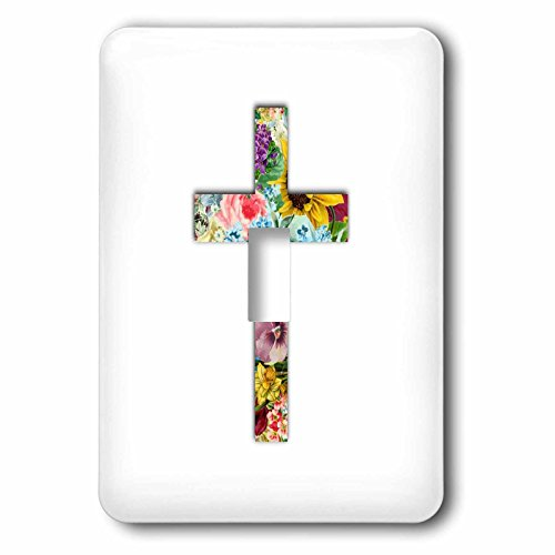 3dRose lsp_185474_1 Floral Christian Cross Colorful Girly Flower Pattern Religious Symbol Light Switch Cover by 3dRose