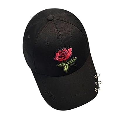 Toraway Caps, Unisex Fashion Rose Baseball Cap Metal Ring Adjustable Hip Hop Rose Hat (Black)