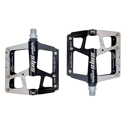 WWGG Bicycle Pedal Three-Bearing Aluminum Platform Pedal Downhill/Mountain Bike/BMX Non-Slip (Pair),Black