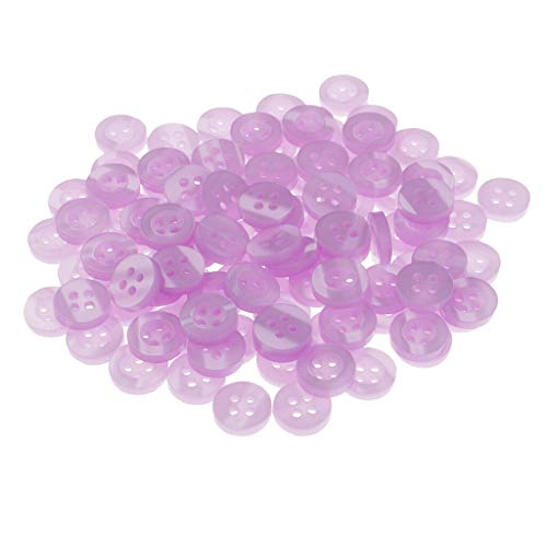 (100x Round Resin Sewing Buttons 4 Holes Sewing Craft Accessories 11mm Purple)