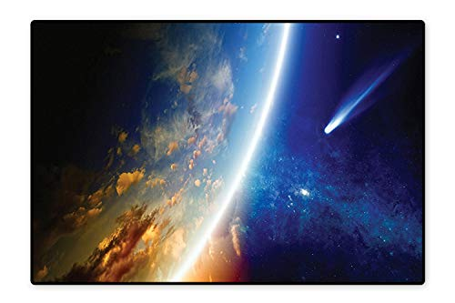 (Large Bathroom Rug Comet Approaches Planet Earth Cosmos Nebula and Stars in Outer Space Print Navy Blue Machine Washable Mats 5'8