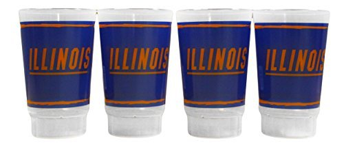 NCAA Illinois Fighting Illini Plastic Tumbler Set Cups 16oz 4 Pack | Dishwasher Safe | Reuseable | Break Resistant - Illini Fighting Illinois Dorm