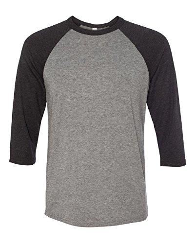 Bella 3200 Unisex 3 By 4 Sleeve Baseball Tee - Deep Heather & Black, Extra Large (Classy Outfits For Men)