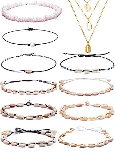 BOMAIL 11 Pieces Bohemian Sea Shell Choker Necklaces Boho Handmade Hawaii Pearl Beach Goth Choker Necklace Set Adjustable Cord Necklace for Women Girls ()