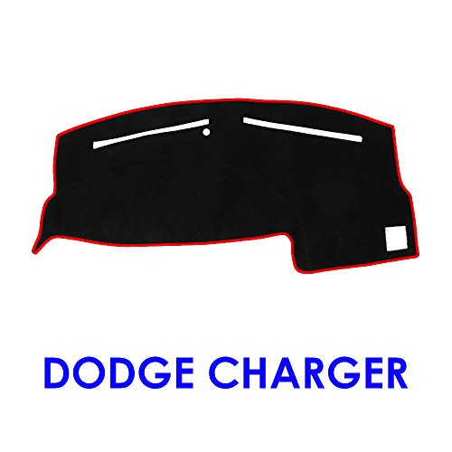 JIAKANUO Auto Car Dashboard Carpet Dash Board Cover Mat Fit Dodge Charger 2011-2018 (BLK-RED - Cover Charger Dash New Carpet