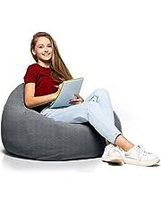 Relaxo Gaming-zitzak, overtrek voor knuffelhoek, enorme bonenzak zonder vulling, voor decoratie, jongens en kinderen, zitpoef voor volwassenen, vloerkussen, grof kussen, chill stoel, relaxo zitzakken grijs