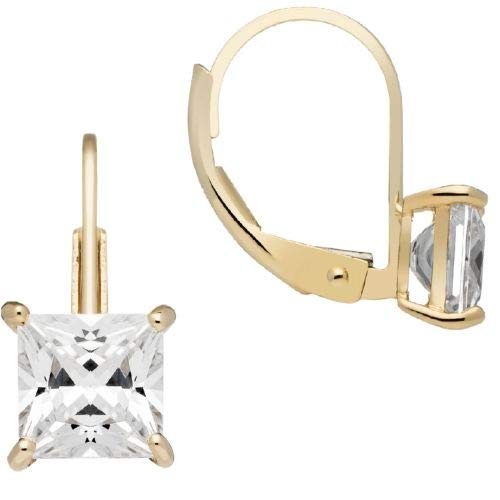 d Earrings | Princess Cut Cubic Zirconia | Leverback Drop Dangle Basket Setting | 2.0 CTW | With Gift Box ()