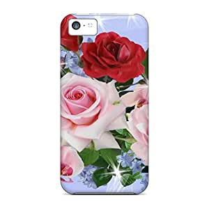 Waterdrop Snap-on Roses Sweet Peas On Blue Case For Iphone 5c