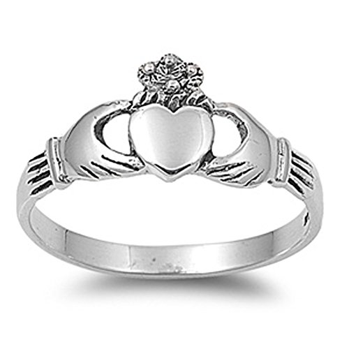 Sterling Silver Women's Claddagh Heart Hand Ring Cute 925 Band 9mm Size 3