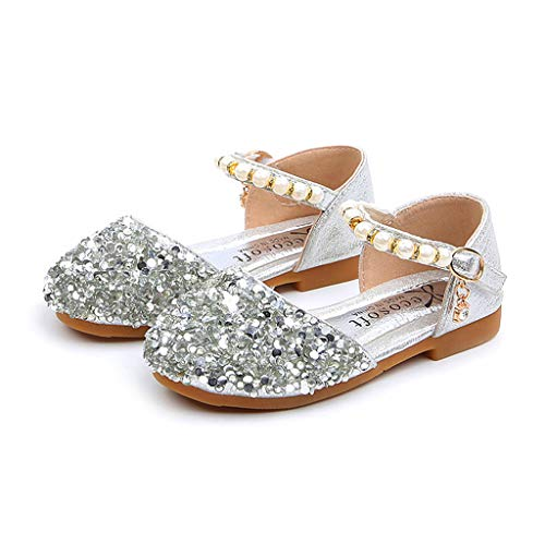 Fshion Baby Shoes, wodceeke Children's Girls Sequins Pearl Princess Shoes Single Shoes Sandals (21, Silver)