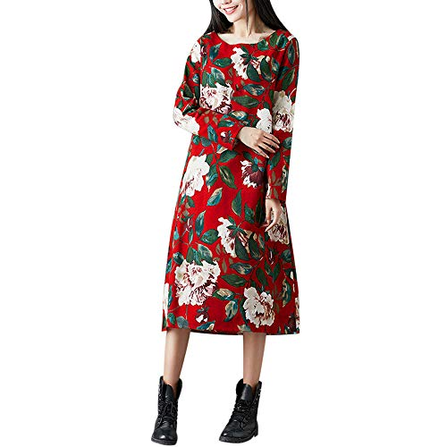 Sinzelimin Christmas Women's Casual Floral Printed Long Sleeve Maxi Dress Plus Size Retro O-Neck Swing Dress