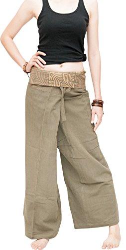 anic Cotton Fisherman Pants Yoga Dull Green Tribal (One Size) (Organic Yoga Clothing)
