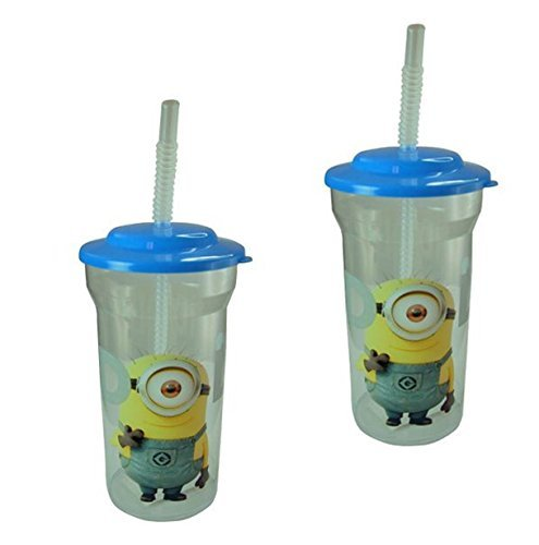 2 Pack - Despicable Me 2 Minion Idol Kids 16oz Tumbler Cup with Lid and Straw ()