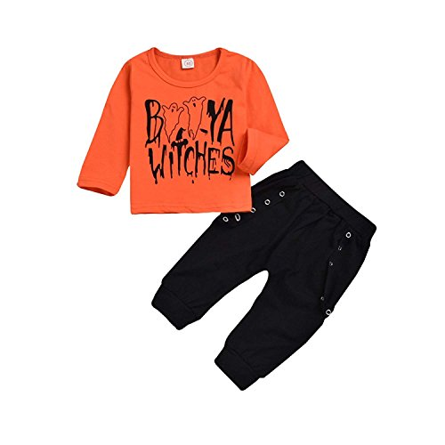 Toddler Kid Baby Boy Halloween Clothes Kid Infant Baby Witches Print Top Long Sleeve T-Shirt+Black Pant Outfit Set