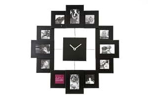 Present Time Photo Frame Clock Family Time, Black