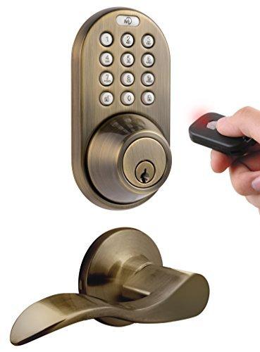 MiLocks XFL-02AQ Digital Deadbolt Door Lock and Passage Lever Handle Combo...