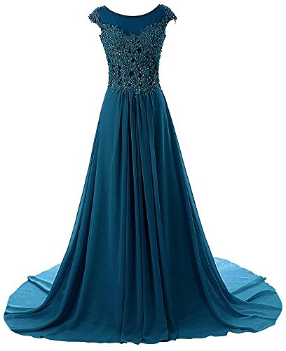 Prom Dresses Long Evening Gowns Lace Bridesmaid Dress Chiffon Prom Dress Cap Sleeve Jade US24W