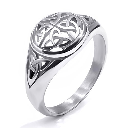 Elfasio Womens Girls Stainless Steel Ring Band Celtic Knot Silver Tone Fashion Jewelry (10)