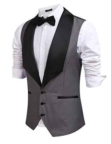 Coofandy Mens V-neck Slim Fit Sleeveless Jacket Wedding Dress Suit Vest Waistcoat (Masquerade Clothing Men)