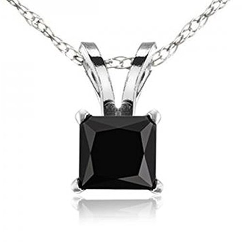 Dazzlingrock Collection 0.75 Carat (ctw) 14K Princess Cut Black Diamond Ladies Solitaire Pendant 3/4 CT, White Gold
