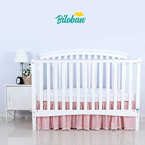 (Pink Crib Skirt Pleated with White Lovely Pompoms, Bedding Dust Ruffle for Baby Girls, 14