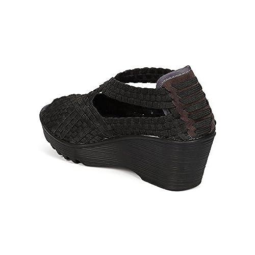 707079ca74 Nature Breeze Mascara-04 Women Elastic Fabric Weave Slip On Wedge Walking  Shoe - Black
