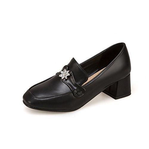 MEI&S Femmes Bout Rond Chaussures Talon Bloc Bouche Peu Profonde Black