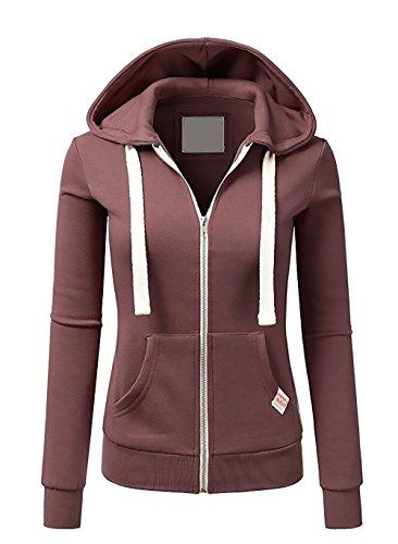 Felpa Donna Con Cappuccio Autunno E Inverno Manica Lunga Sweatshirt Hoodie Con Cerniera Elegante Sportiva Giubbotto Unisex Moda Casual Colori Solidi Pullover Hoody rossi