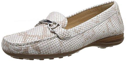 (Geox Women's D Euro 57 Slip-On Loafer,Off White/Snake,39.5 EU/9.5 M US )