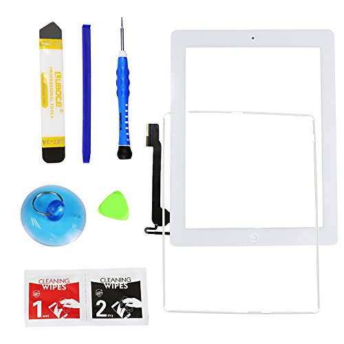 Monstleo Touch Screen Digitizer Assembly for White iPad 4 Model A1458, A1459, A1460 + Home Button,Adhesive Tape and Tools