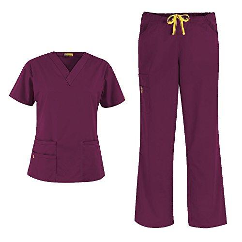 WonderWink Origins Women's 6016 Bravo Top & Romeo Pant 5026 Medical Uniform Scrub Set, Mix & Match Sizes (Wine - X-Large/XXXL Tall)