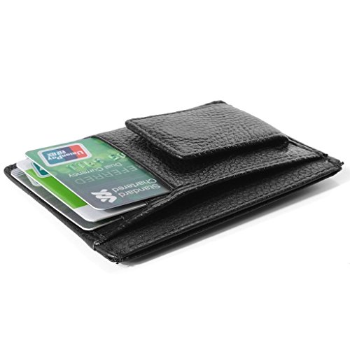 Minimalist Card Men's Vicloon With Credit Holder Magic Credit Clip Thin Wallet Leather Cash Super Card Black Case Wallet Brown Pocket Green qYOAf