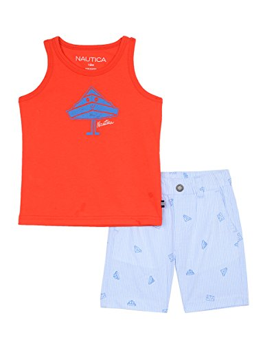 Nautica Baby Boys' Two Piece Set with Tank Top and Pull On Shorts, Scarlet, 12M