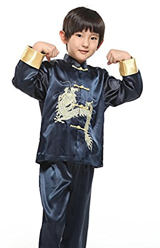 Suimiki Traditional Chinese Dragon Kung Fu Outfit Tang Suit for Boys Navy 16 -