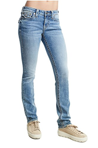True Religion Womens Straight Fit Super Stretch Big T Jeans w/Flap in Mineral Skies