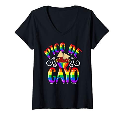 Womens Pico De Gayo Rainbow LGBT Shirt Gay Pride Flag Salsa V-Neck T-Shirt