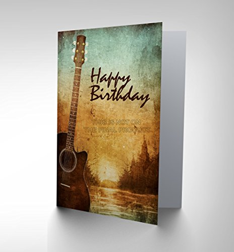 Price comparison product image Wee Blue Coo NEW HAPPY BIRTHDAY MUSIC SUNSET GUITAR BLANK GREETINGS CARD ART CP288