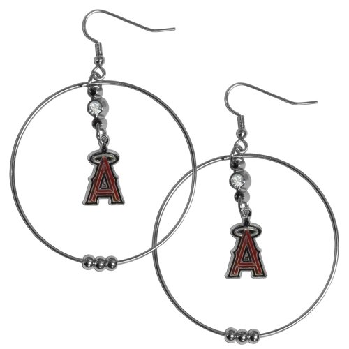 MLB Los Angeles Angels of Anaheim Hoop Earrings, 2-Inch