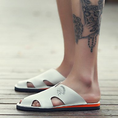 Sandalias de verano zapatos de hombre casual Flip-Flops Cuero marrón / Negro / Blanco Blanco