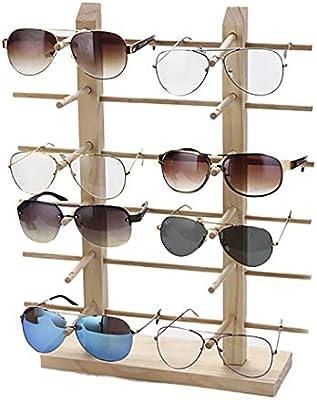JUSTDOLIFE Soporte de ExhibicióN de Los Vidrios Gafas de Sol Decorativas de Madera Creativas