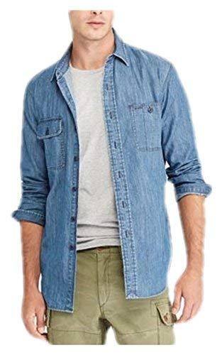 (RALPH LAUREN Polo Men's Denim Long Sleeve Denim Chambray Workshirt Shirt, Dark Indigo (X-Small))