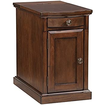 Ashley Furniture Signature Design   Laflorn Chairside End Table    Rectangular   Medium Brown